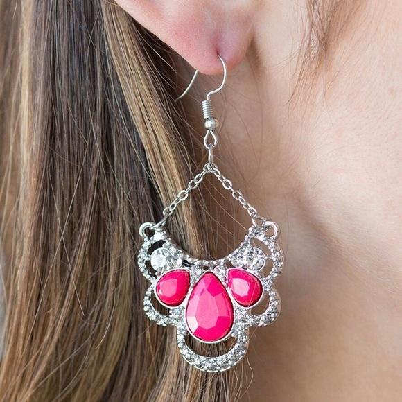 Pink & Silver Chandelier Earrings